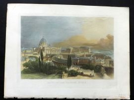Picturesque World C1880 Hand Col Print. Saint Peters Church, Rome, Italy